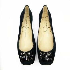 JESSICA SIMPSON ▪ Black Suede Mollins Flats, New